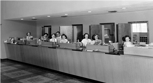 1965 image of Central Bank interior with lady tellers